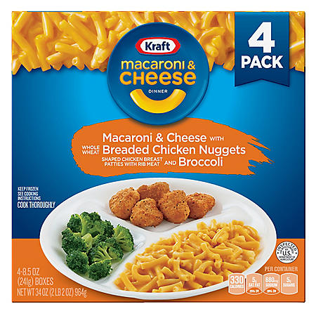 Kraft Macaroni & Cheese Dinner With Chicken Nuggets and Broccoli, Frozen (4 pk.)