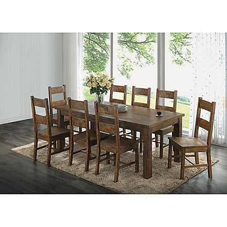 Hyde 9-Piece Dining Set, Rustic Golden Brown