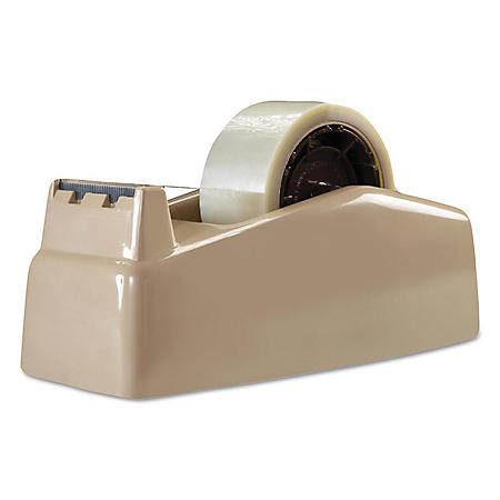 "Scotch - Two-Roll Desktop Tape Dispenser, 3"" Core, High-Impact Plastic -  Beige"