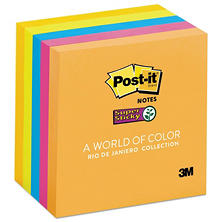 Post-it Notes Super Sticky - Pads in Rio de Janeiro Colors, 3 x 3, 90/Pad -  5 Pads/Pack