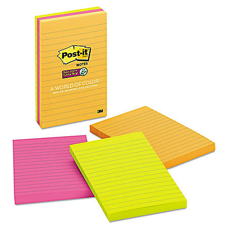 Post-it Super Sticky Notes, 4 x 6, Lined, 90 Sheet Pads, 3 Pads, Jewel Pop Collection
