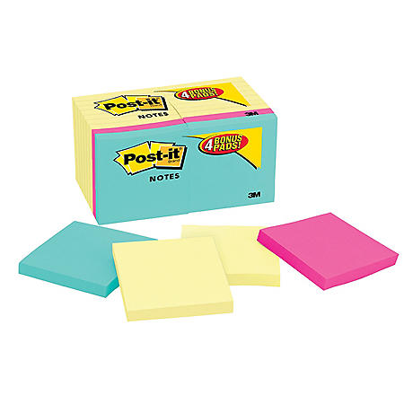 Post-it Notes Original Pads, 3 x 3, 100 Sheet Pads, 18 Pads, 1,800 Total Sheets, Canary Yellow/Capetown Collection