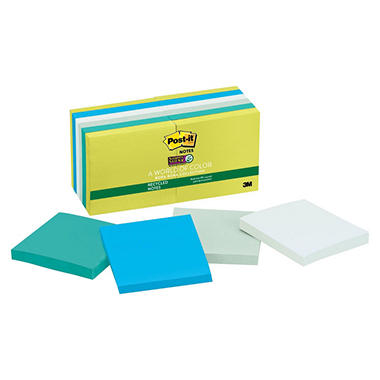 Post-it Super Sticky Notes, 3 x 3, 90 Sheet per Pad, 12 Pads, Bora Bora Colors, 3 x 3