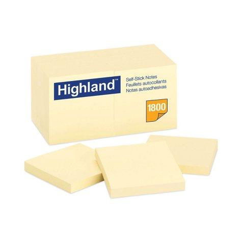 Highland - Self-Stick Notes, 3 x 3, Yellow -  18 100-Sheet Pads/Pack