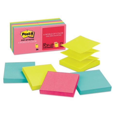 Post-it Pop-up Notes - Original Pop-up Refill, 3 x 3, Capetown, 100/Pad -  12 Pads/Pack