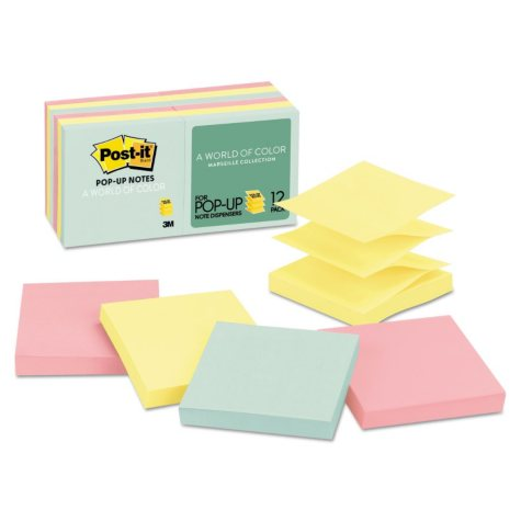 Post-it Pop-up Notes - Original Pop-up Refill, 3 x 3, Marseille, 100/Pad -  12 Pads/Pack