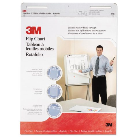 "3M Professional Flip Chart Pad, Unruled, 25"" x 30"", 40 Sheets, White, 2pk."