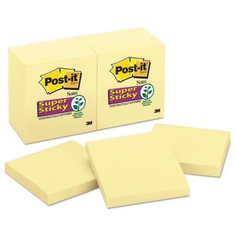Post-it Notes Super Sticky - Canary Yellow Note Pads, 3 x 3, 90/Pad -  12 Pads/Pack