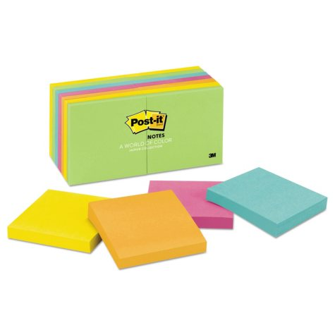 Post-it Notes - Original Pads in Jaipur Colors, 3 x 3, 100/Pad -  14 Pads/Pack