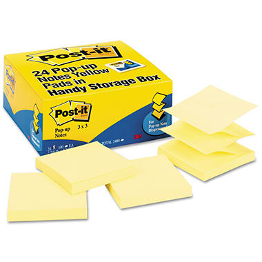 Post-it Pop-up Notes - Original Canary Yellow Pop-Up Refill, 3 x 3, 100/Pad -  24 Pads/Pack