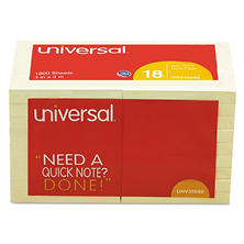 "Universal Standard Self-Stick Notes, 3"" x 3"", Yellow, 100-Sheet Pads, 18 Pads"