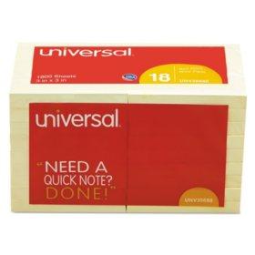 """Universal Standard Self-Stick Notes, 3"""" x 3"""", Yellow, 100-Sheet Pads, 18 Pads"""