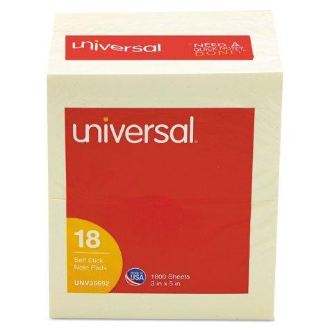 """Universal® Self-Stick Note Pads, 3"""" x 5"""", Yellow, 100-Sheet, 18/Pack"""