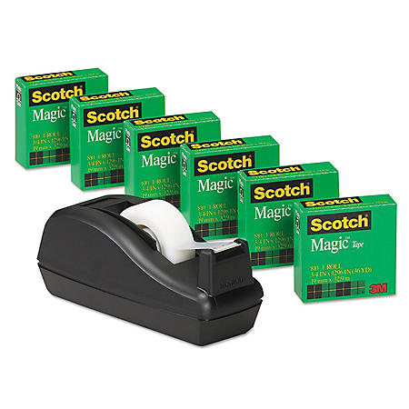 "Scotch - Scotch Magic Tape, 3/4"" x 1000"", 1"" Core, Black -  6/Pack"