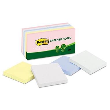 Post-it Greener Notes - Original Recycled Note Pads, 3 x 3, Helsinki, 100/Pad -  12 Pads/Pack
