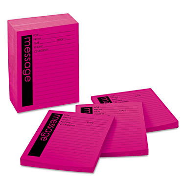 Post-it Super Sticky - Self-Stick Message Pad, 3-7/8 x 4-7/8, Bright Pink, 50/Pad -  12 Pads/Pack