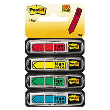 "Post-it Flags - Arrow Message 1/2"" Flags - ""Sign Here"" - 4 Colors w/Dispensers - 120/Pack"