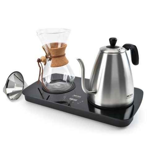 Aroma Pour Over Coffee Maker with Carafe and Reusable Filter