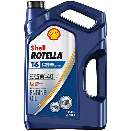 Shell Rotella T6 5W-40 Synthetic Heavy-Duty Diesel Engine Oil, (3 pk., 1 gallon per case)