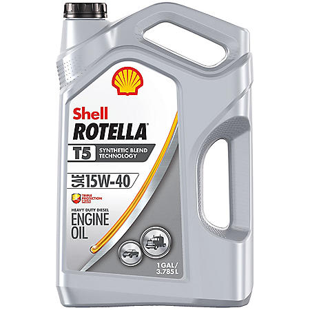Shell Rotella T5 15W-40 Synthetic Blend Heavy-Duty Diesel Engine Oil, (3 pk., 1 gallon per case)