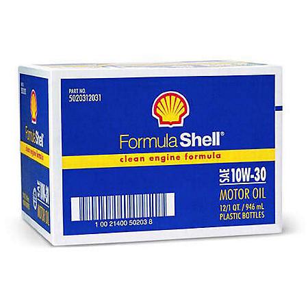 Formula Shell SAE 10W30 Motor Oil - 1 Quart Bottles - 12 pack