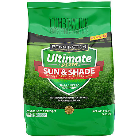 Pennington The Ultimate Plus Grass Seed and Fertilizer Sun and Shade Mix -15 lb. North Mix