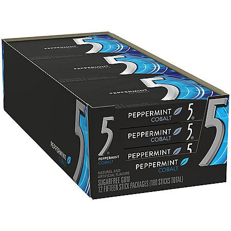 Wrigley's 5 Gum Cobalt Peppermint (15 ct., 12 pk.)