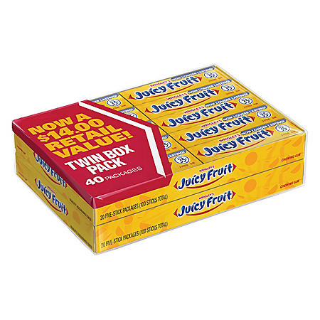 Wrigley's Juicy Fruit Gum (5 ct., 40 pks.)