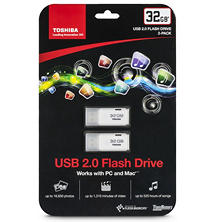 Toshiba TransMemory USB 2.0 Flash Drive 32GB, 2-pack