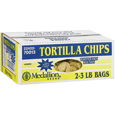 Medallion Tortilla Chips White Corn Rounds -6lb