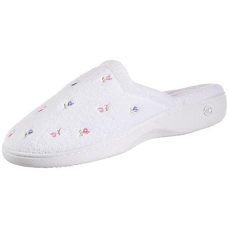 Isotoner Women's Embroidered Terry Secret Sole Clog Slippers
