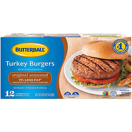Original Seasoned Butterball Turkey Burgers, Frozen (12 patties)