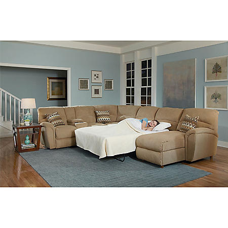 Lane Furniture Robert 4-Piece Reclining Sectional Sofa with Chaise and Sleeper