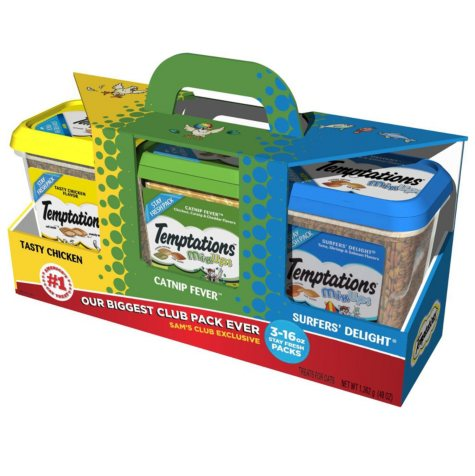 Temptations Cat Treats in Tasty Chicken, Catnip Fever, and Surfers' Delight 3 lb Club Pack (3 flavors, 1 lb. canisters)