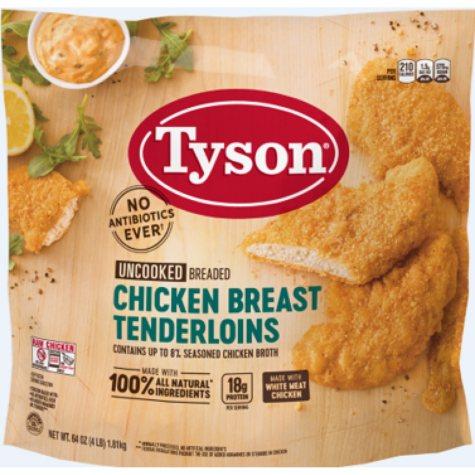 Tyson Breaded  Chicken Breast Tenderloins (4 lbs.)