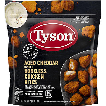 Tyson Fully Cooked Aged Cheddar Flavored Boneless Chicken Bites (3 lbs.)