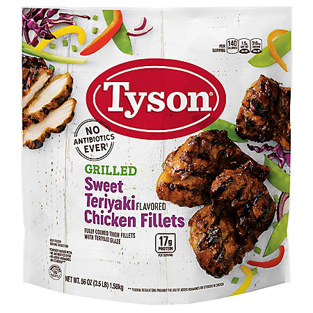 Tyson Grilled and Ready Fully Cooked Frozen Chicken Fillets, Teriyaki (3.5 lbs.)
