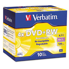 Verbatim DVD+RW Discs, 4.7GB, 4x, with Slim Jewel Cases, Pearl (10 ct.)