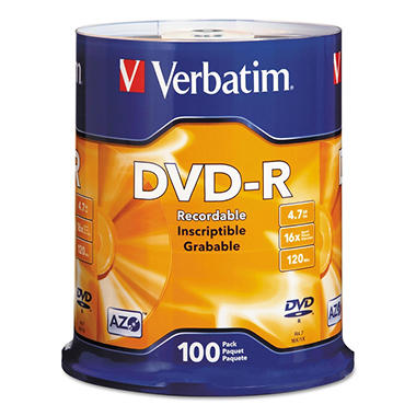 Verbatim DVD-R Discs, 4.7GB, 16x, Spindle, Silver (100 ct.)