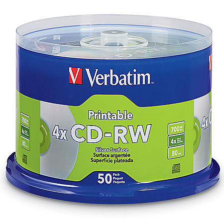 CD-RW 700MB 2X-4X DataLifePlus Silver Inkjet Printable with Branded Hub - 50pk Spindle