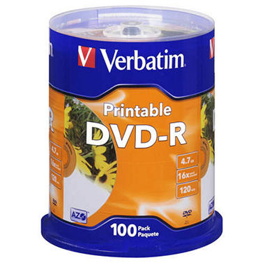 Verbatim® Printable DVD-R 4.7GB - 100ct