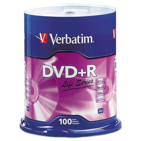 Verbatim DVD+R Life Series 4.7GB 16X 100pk Spindle