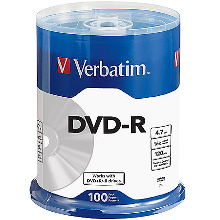 Verbatim DVD-R 4.7GB 120Min DVD-R Spindle, 100/Pack (99421)Verbatim DVD-R 4.7GB 120Min DVD-R Spindle, 100 Pack