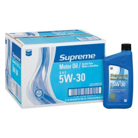 Chevron Supreme 5W30 Motor Oil - 1 Quart Bottles - 12 pack