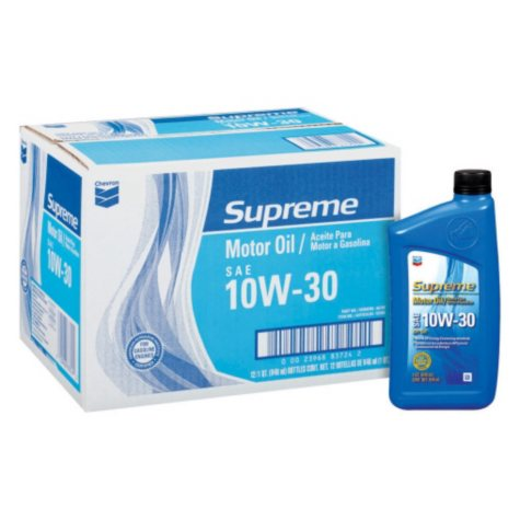 Chevron Supreme 10W30 Motor Oil - 1 Quart Bottles - 12 pack