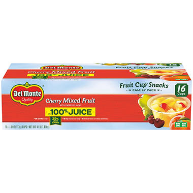 Del Monte Cherry Mixed Fruit (4 oz. cup, 16 ct.)