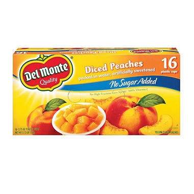 Del Monte Fruit to Go Cups - No Sugar Added Peaches - 3.75 oz. cups - 16 pk.