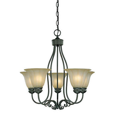 5-Light Weathered Bronze Finish Chandelier