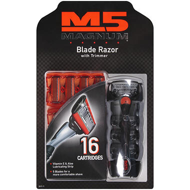 M5 Magnum Blade Razor with Trimmer (1 Handle & 16 Cartridges)