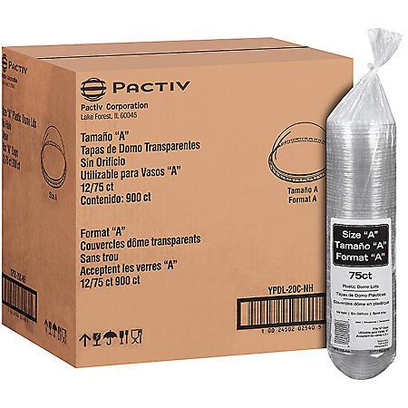 """Pactiv Size """"A"""" Plastic Dome Lids - 75 ct. - 12 pk."""